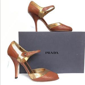 PRADA Brown Peep Toe Mary Jane Heels, Size 40/10